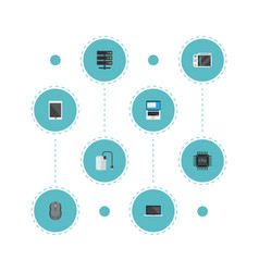 flat icons datacenter monitor computer mouse and vector image