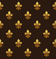 golden fleur de lis seamless pattern vector image