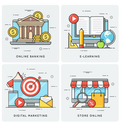 online banking e-learning digital marketing vector image