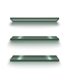 Realistic Glass Shiny Shelves Set vector image vector image