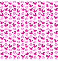 seamless pattern with rose cartoon hearts and vector image