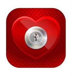 Shiny heart with a keyhole vector image