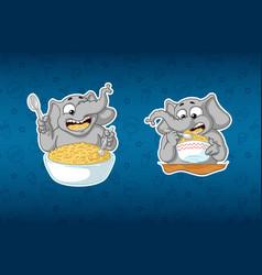 stickers elephanthe eats porridge with a spoon vector image vector image