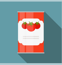 tomato sauce soup can template in modern flat vector image vector image