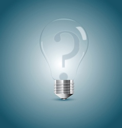 Bulb lamp with question sign inside vector image vector image