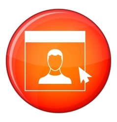Cursor point man on monitor icon flat style vector image vector image