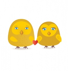 cute birds couple in love vector image vector image