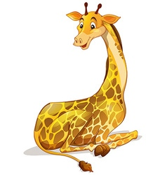 Cute giraffe sitting alone vector image