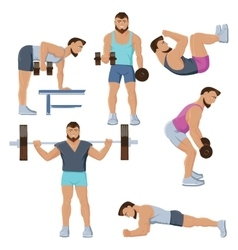 Fitness Male Characters Set vector image vector image