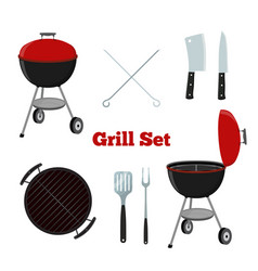 Grill set - grill stand cutlery knife cleaver vector