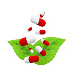 pills falling on leaves vector image vector image