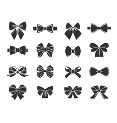 Black Decorative Bows Icons Set vector image vector image