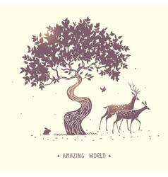 Deer silhouette nature vector image