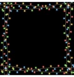 Glowing Christmas garlands frame black vector image vector image