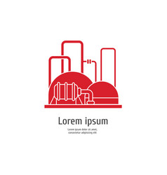 heavy industry power plant - red icon on white vector image vector image