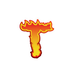 letter t fire flames font lettering tattoo vector image vector image