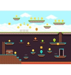 Retro platformer video game gaming screen vector image