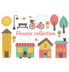 set of isolated houses and other elements part 2 vector image vector image