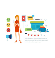 Testimonials shopping feedback mobile app vector