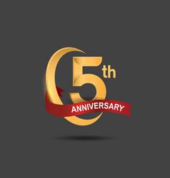 5 anniversary design logotype golden color vector