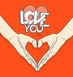 Abstract valentines hearts of human hands Love you vector image