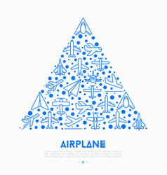 Airplane concept in triangle with thin line icons vector