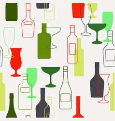 Alcohol bottles and glasses pattern vector
