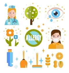 Allergy icon flat set isolated vector