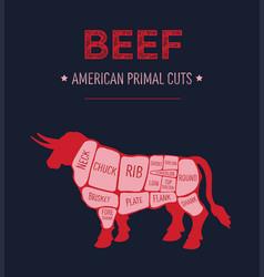 american primal beef meat cuts diagram vector image