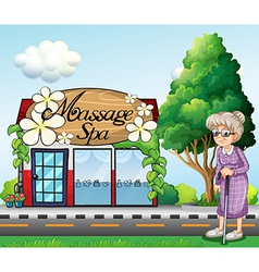 An old woman outside massage spa parlor vector