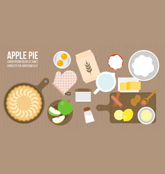 Apple pie and ingredients vector