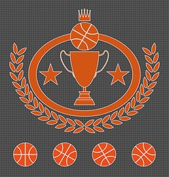 Basketball Golden Goblet and Crown vector image