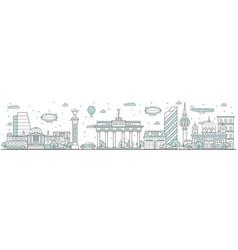 berlin skyline line cityscape vector image