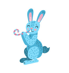 Birthday rabbit with pipe tongue vector