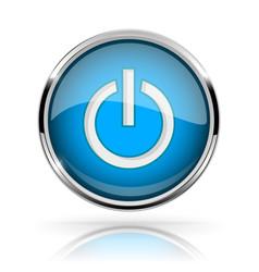 Blue round media button power button shiny icon vector