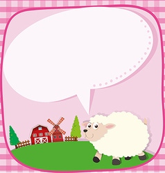 Border design with sheep on the farm vector image