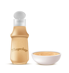 bottle and bowl full of mayochup sauce vector image