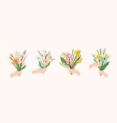 Bouquets flowers in hands vector