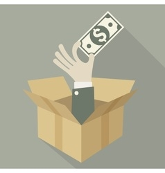 Box of money in hand vector image
