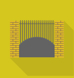 brick metal fence icon flat style vector image