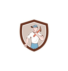 Builder Carpenter Holding Hammer Shield Cartoon vector