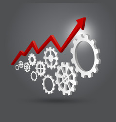 business success concept of gears with graph vector image