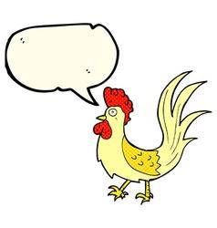 Cartoon cockerel with speech bubble vector