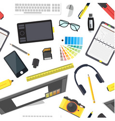 Cartoon designer workplace background pattern vector ...