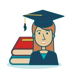 Cartoon girl student graduation book graphic vector