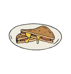 Cheese and ham sandwich in vector