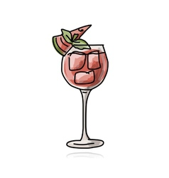 Cocktail with watermelon sketch for your design vector image