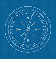 compass icon on blueprint backgrou vector image