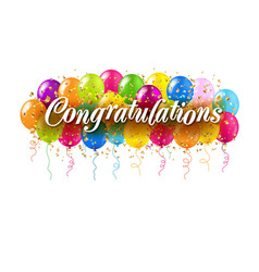 congratulations card and colorful balloons white vector image