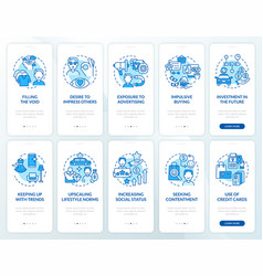 Consumerism blue onboarding mobile app page vector